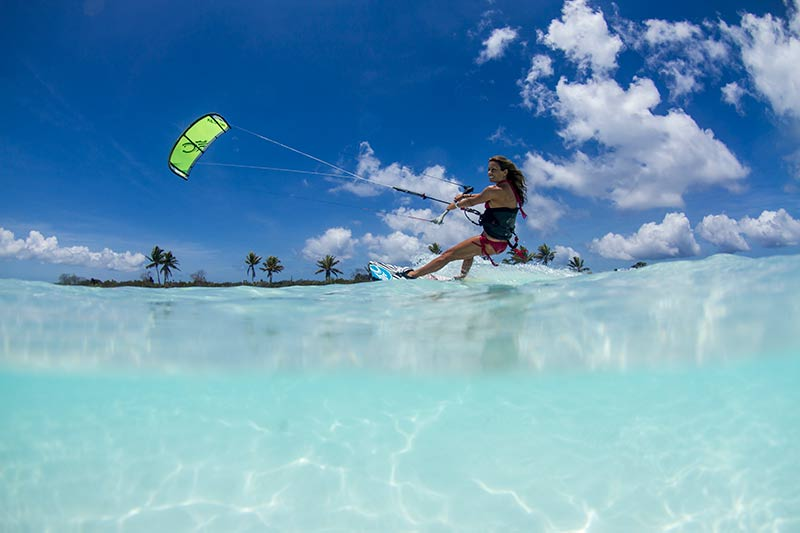 Carine Camboulives kitesurfing on Christmas Island, Pacific Ocean, Kiteworld issue 72 800