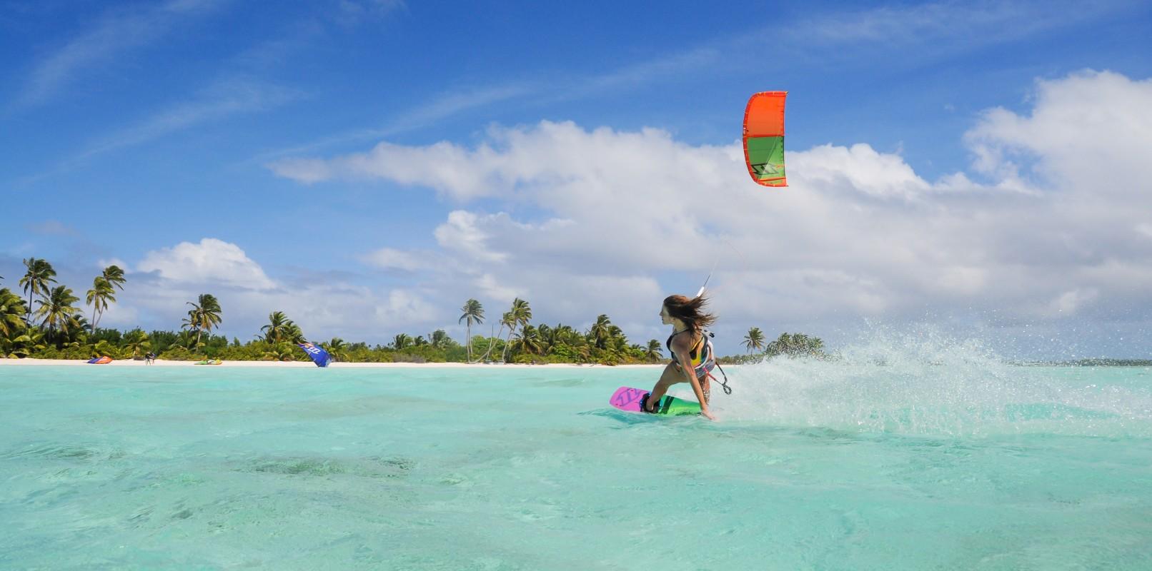 Girl kitesurfing in Cocos Islands from Kiteworld magazine