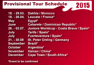 PKRA 2015 provisional kitesurfing world tour calendar