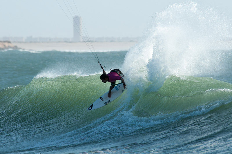 Pedro Henrique competing in the wave kiting event at VKWC Dakhla