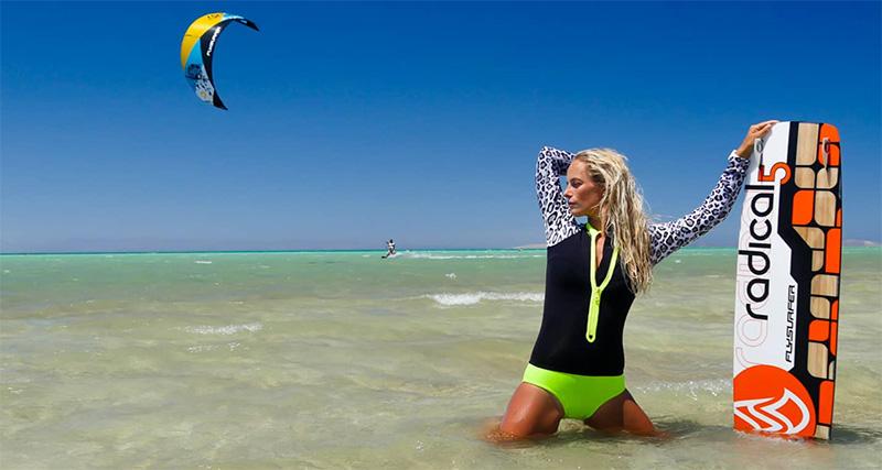 Andrea Jandova and Lukash Vogeltanz kitesurfing Egypt Red Sea