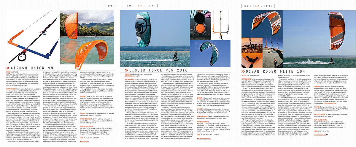 Airush, Liquid Force and Ocean Rodeo 2016 kite tests in Kiteworld magazine issue 77
