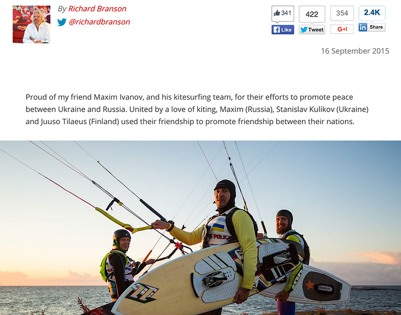 Sir Richard Branson blog on russia world record crossing