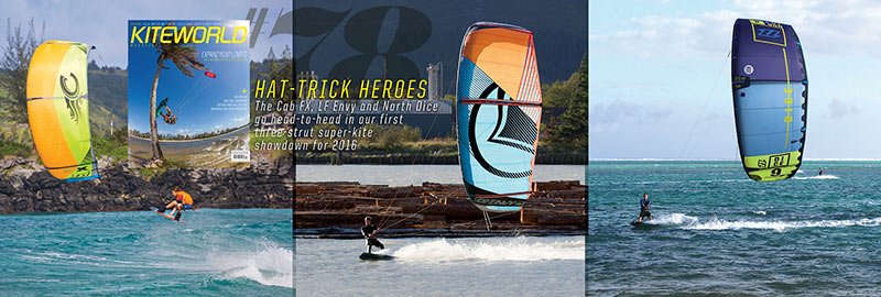 North Dice, Cabrinha FX and Liquid Force Envy kite tests in Kiteworld magazine issue 78