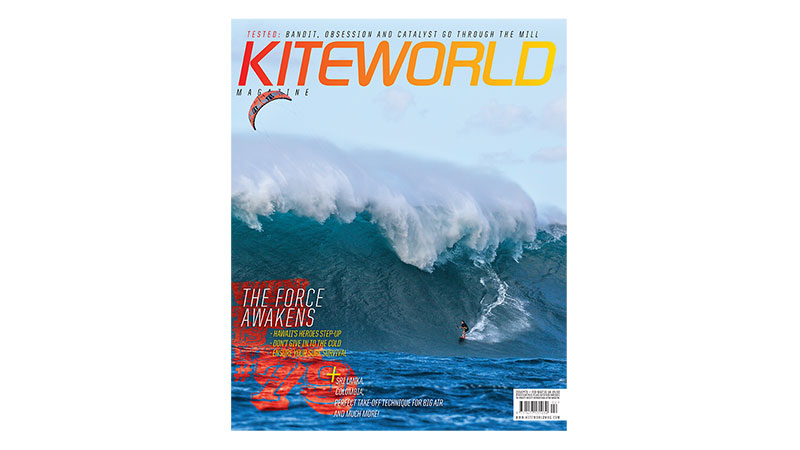 Kiteworld issue 79 kitesurfing cover with Jesse Richman at Jaws