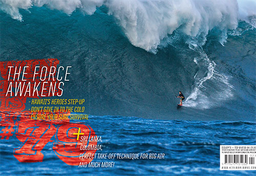 Kiteworld issue 79 cover with Jesse Richman at Jaws