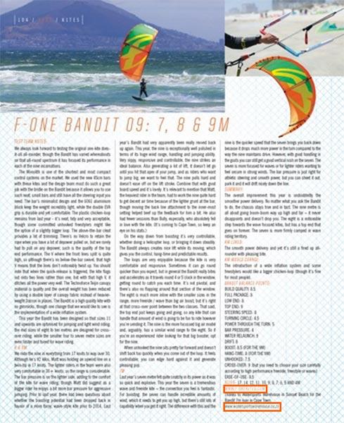 Kiteworld F-One Bandit 9 kitesurf review