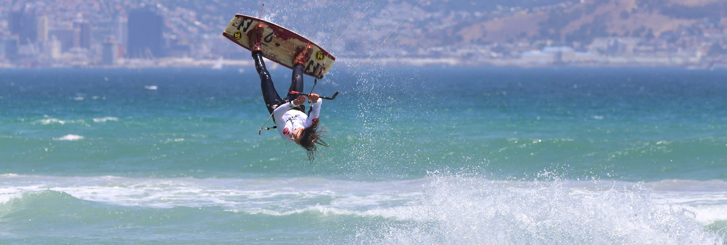 Oswald Smith South African freestyle kitesurfer competing in a SAKA event