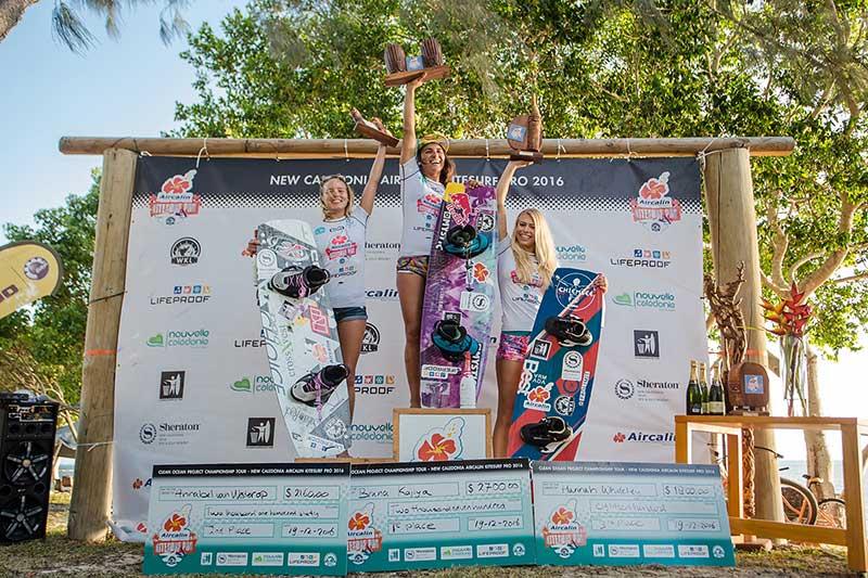 World Kiteboarding League women's podium