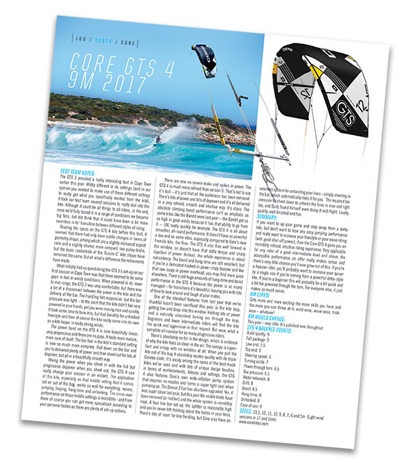 Core Kites GTS 4 Kiteworld Magazine test