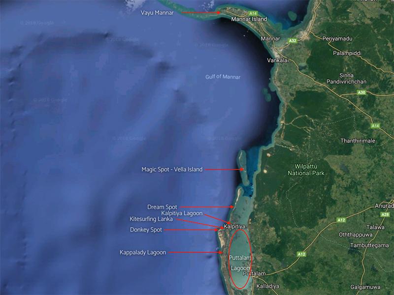 Sri Lanka Kalpitiya / Mannar Kitesurfing map
