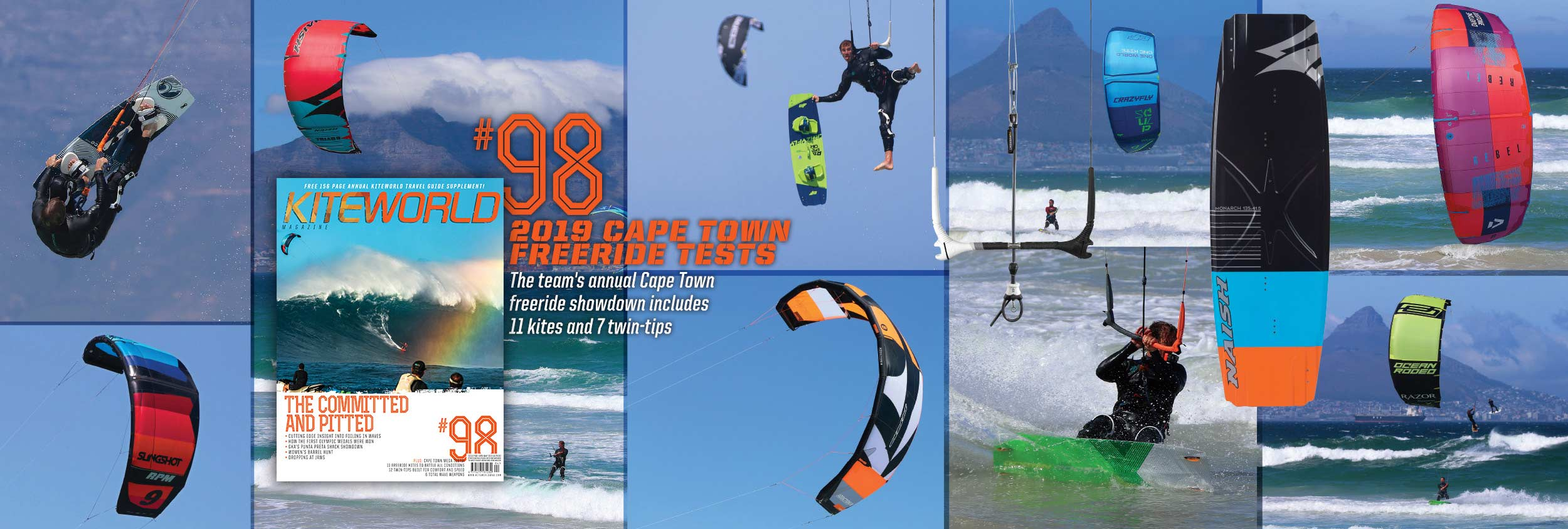 KW#98 2019 freeride kite and twin-tip tests