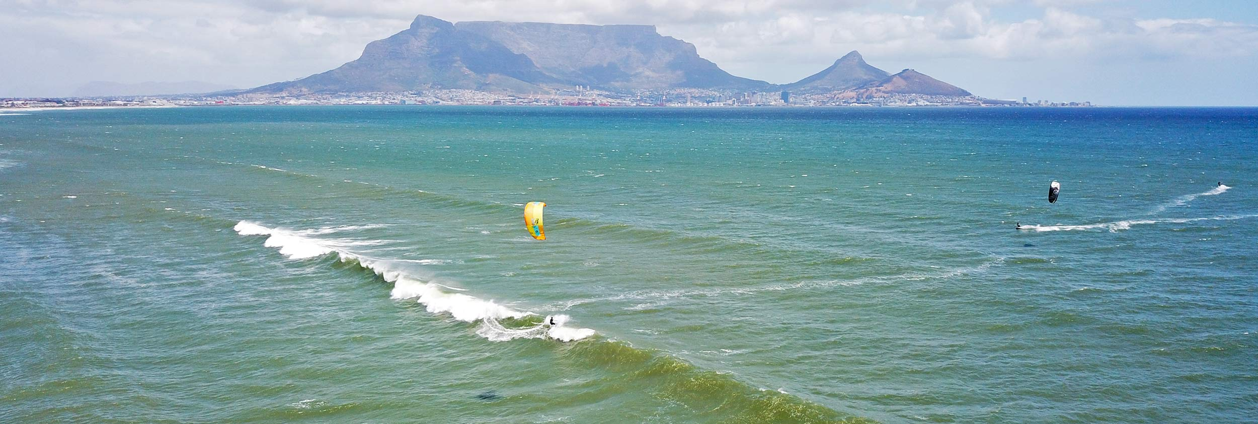 Kitesurfing at Sunset Beach in Cape Town