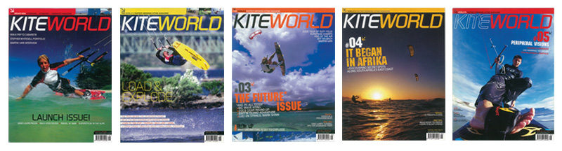 First five Kiteworld magazine covers