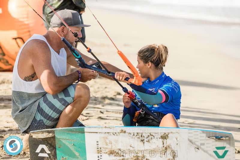 Mikaili Sol at GKA Freestyle World Cup Fuerteventura with coach Fabio Ingrosso