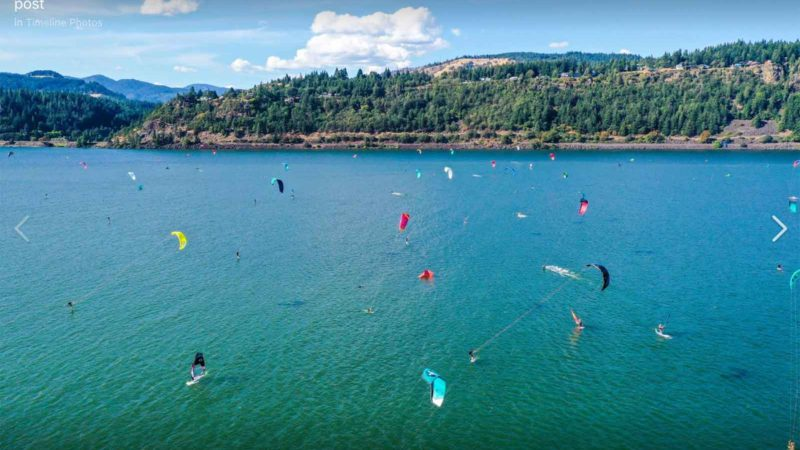 Kitesurfing in the Gorge at the AWSI event in Hood River