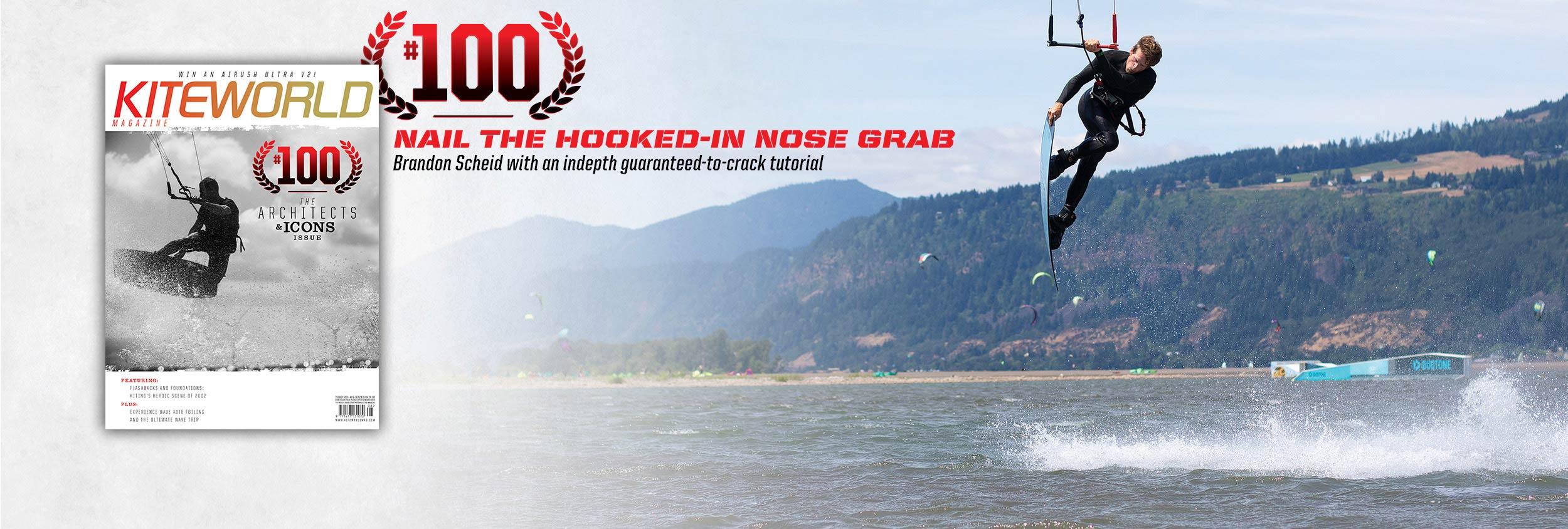 Kiteboarding technique nose grab issue 100 with Brandon Scheid