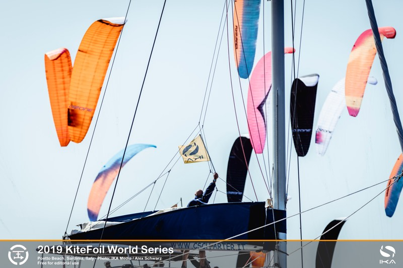 Boat amongst the kites? 2019 KiteFoil World Series, Day 1
