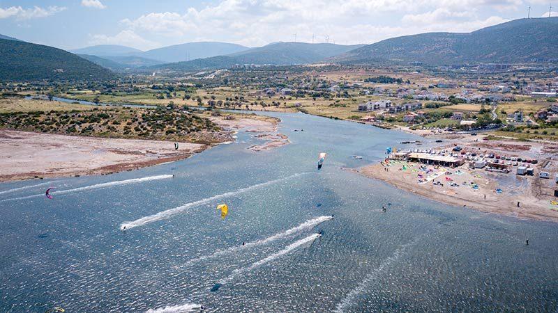 Kitesurfing at Gokova, Turkey