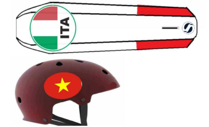 nationality flags on hulls and helmets