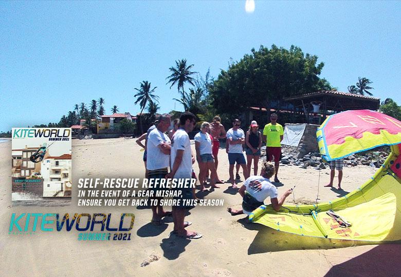Self rescue kitesurfing technique feature