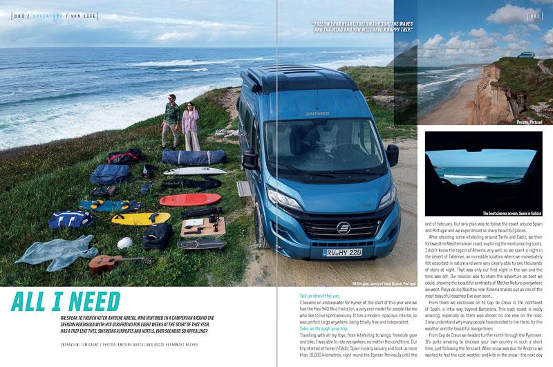 Van life feature in Kiteworld magazine summer issue 2021