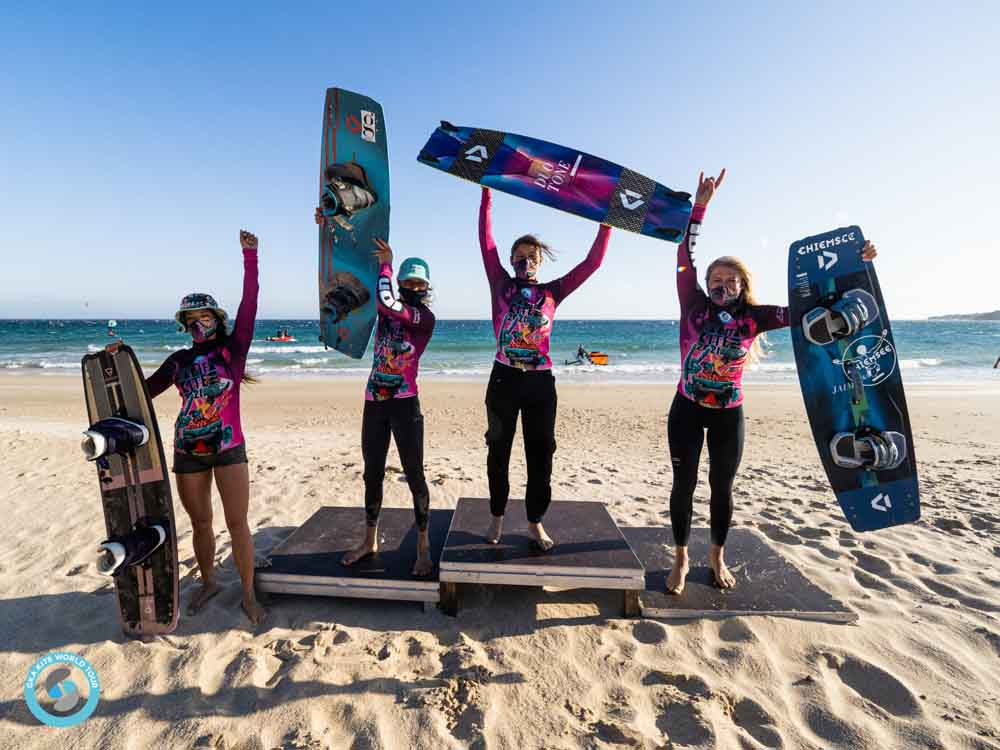 Womens podium at the GKA Freestyle Tarifa